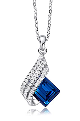 CDE Blue Elf Sterling Silver Pendant Necklaces Embellished with Crystals from Swarovski Necklace Women Fine Jewelry for Mothers Day