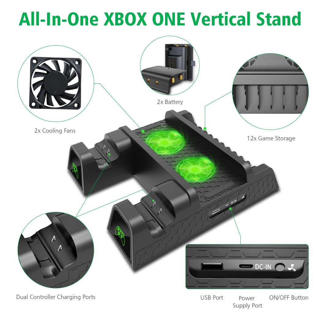 OIVO Vertical Cooling Stand Compatible with Xbox ONE X/ ONE S/ Regular ONE,  Cooler Cooling Fan with 2PACK 600mAh Batteries,Games Storage, Dual
