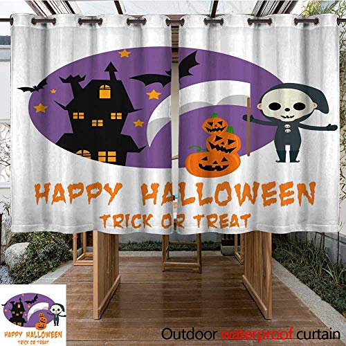 RenteriaDecor Outdoor Ultraviolet Protective Curtains Halloween Background with Lovely Costumes W96 x L72 -