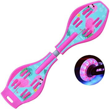 WangYi patineta- Moto de Destello para niños de 6 años o más, Principiantes y