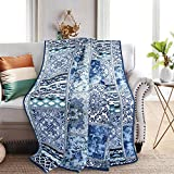 NEWLAKE Quilted Throw Blanket for Bed Couch Sofa, Blue Classic Bohemian, 60X78 Inch