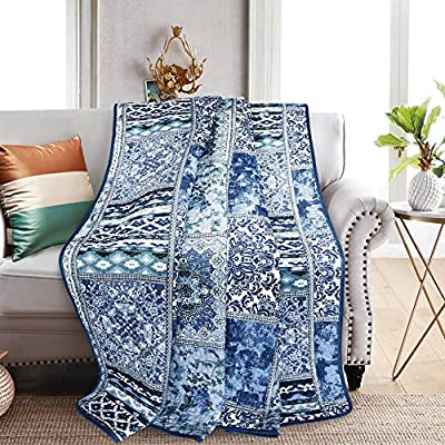 NEWLAKE Quilted Throw Blanket for Bed Couch Sofa, Blue Classic Bohemian, 60X78 Inch - Unique Design: Blue Classic Bohemian Patchwork Package Content: 1 piece of decorative throw blanket (60 *78 Inch) Care Instruction: machine wash separately in cold water, tumble dry low heat - blankets-throws, bedroom-sheets-comforters, bedroom - 612ykp 0fXL. SS400  -