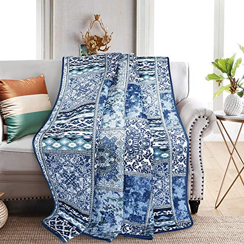 Cotton Throw Floral Quilt - NEWLAKE Quilted Throw Blanket for Bed Couch Sofa, Blue Classic Bohemian, 60X78 Inch
