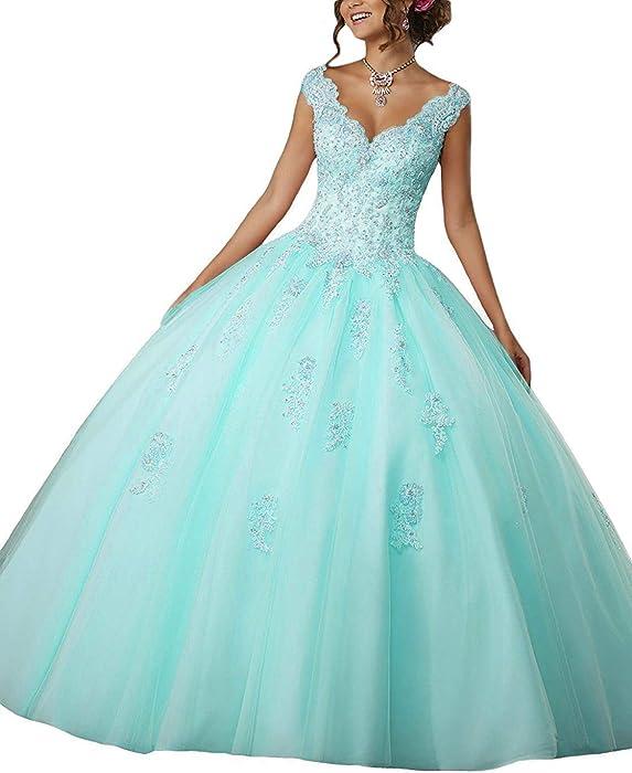 d668fce83c30b Eldecey Women s Lace Applique Beaded Sweet 15 V-Neck Floor Length Ball Gown  Quinceanera Dress