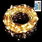 Sungluber LED String Fairy Lights, 100 Bulbs Warm White Waterproof Copper Wire Light Set with Remote Intelligence Certified Adapter Control for Outdoor,Party,Wedding,Christmas Tree Picture
