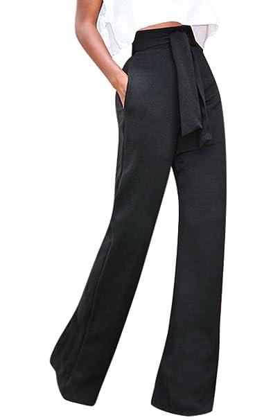 Mupoduvos Mujer Casual Solid Cintura Alta Pantalones Palazzo con Cinturón  Suelto Fiesta De Oficina  Amazon.es  Ropa y accesorios d3604e0f7f38