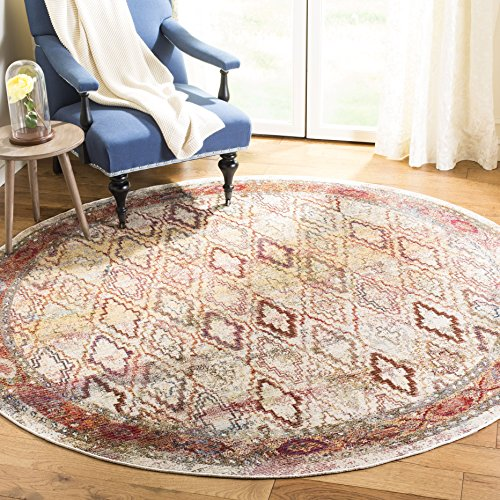 Safavieh Harmony Collection HMY407B Light Grey and Rose Round Area Rug (7' in Diameter)