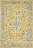 Unique Loom Tradition Collection Classic Vintage Botanical Yellow Area Rug (4′ x 6′) For Sale