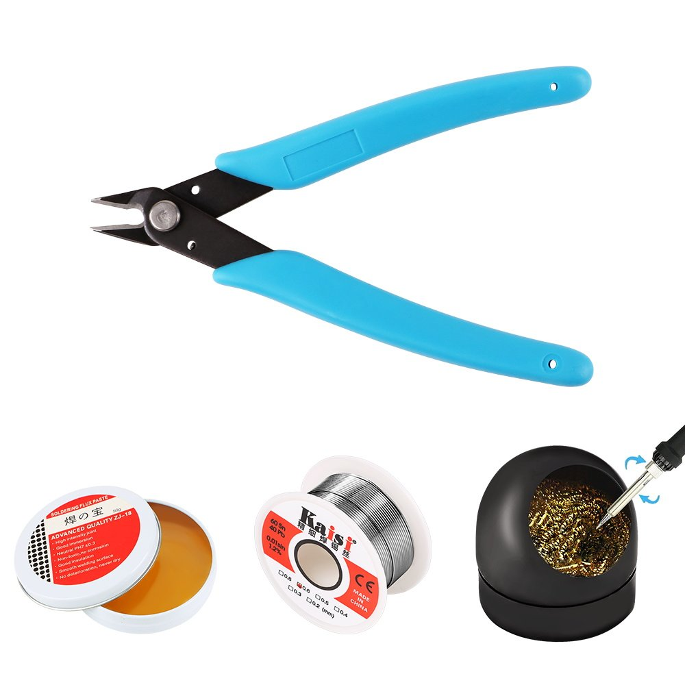 Soldering Tool Set, Solder Iron Assist Accessories DIY Kit ( Soldering Iron Tip Cleaner + 1PCS Solder Tip Cleaning Wire + 60-40 Tin Lead Rosin Core Solder Wire + Micro Shear Wire Cutter Pliers + Rosin