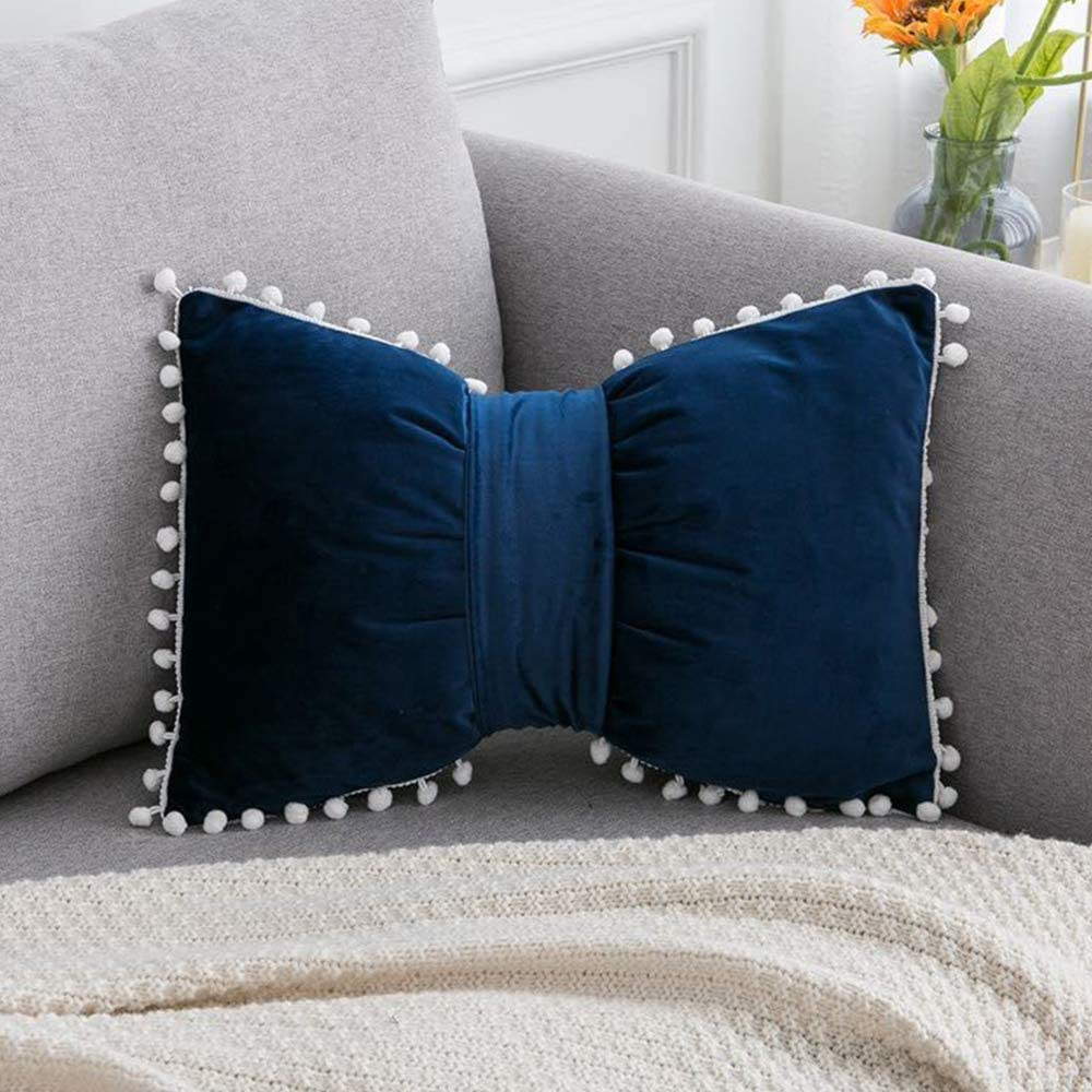 """MNEY Dark Blue 18""""x12"""" Velvet Bow Knot Pillow Cover Case Velvet Throw Pillow Covercase Cushion Cover, Bow Pillow, Bow Throw Pillow Cover Decorative Home décor"""