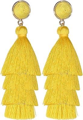 Colorful Layered Tassel Earrings Long Fringe Boho Tiered Drop Earrings for Women