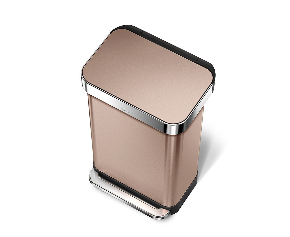 simplehuman 45 Liter / 12 Gallon Stainless Steel Rectangular Kitchen Step Trash Can with Liner Pocket, Rose Gold Stainless Steel