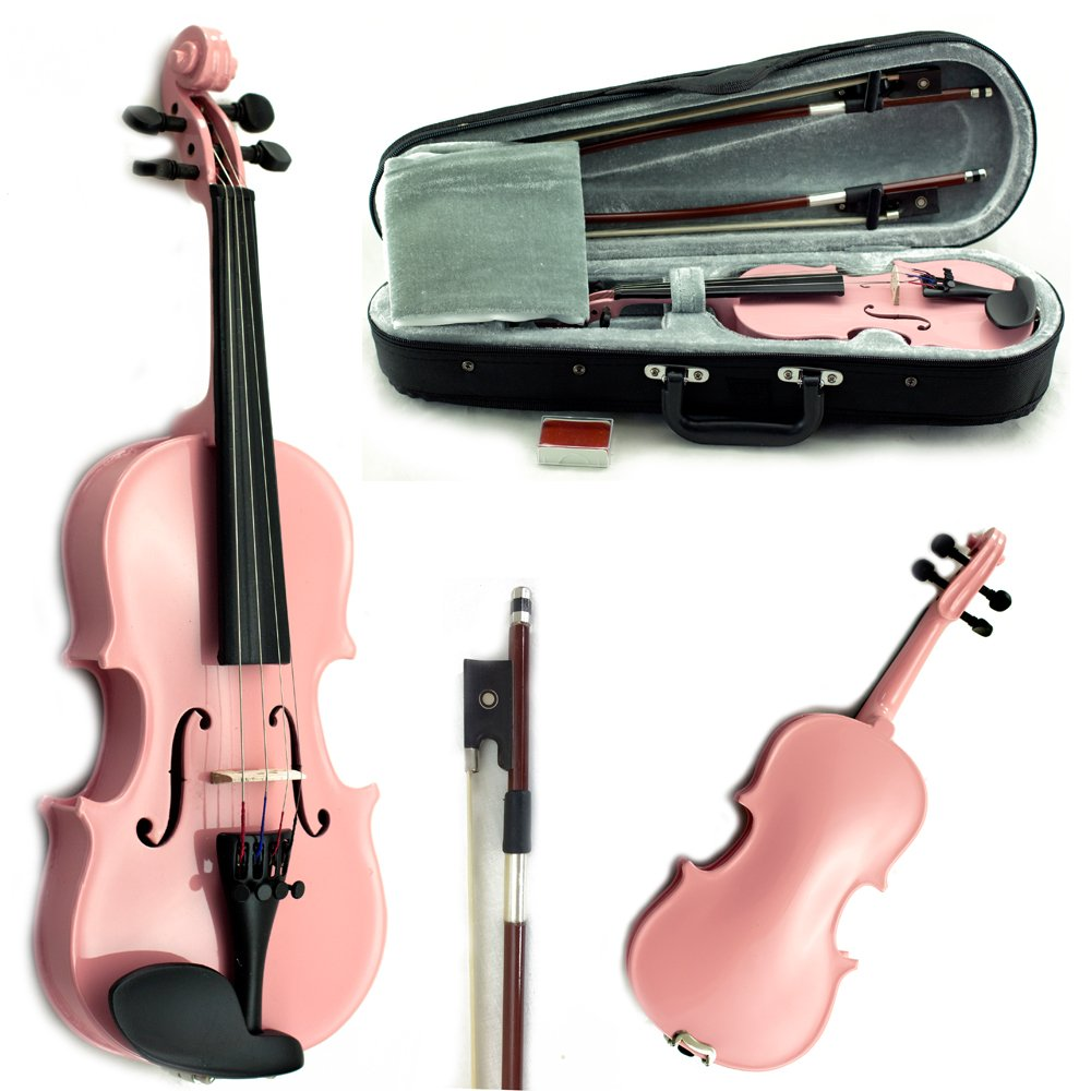 SKY Wood 1/16 Size Kid Violin with Lightweight Case, Brazilwood Bow and Rosin Bright Pink Color