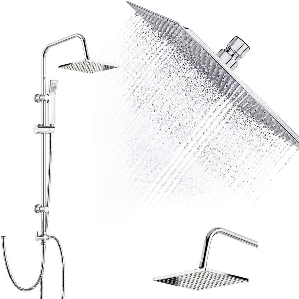 Juego de ducha de acero inoxidable, cabezal de ducha doble, cabezal de ducha cuadrado, juego de riel de ducha cuadrado