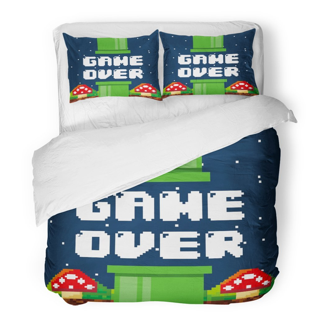 SanChic Duvet Cover Set Video Pixel Game Over Interface with Fungus Colorful Design Videogame Console Decorative Bedding Set with 2 Pillow Shams Full/Queen Size