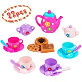 Nuheby Kids Tea Cup Set Cake Toy 22pcs Teapot Set Accessories Pretend Role Play Toy Food Party Game for Kids Birthday Gifts Boys Girls 3 4 5 Years Old
