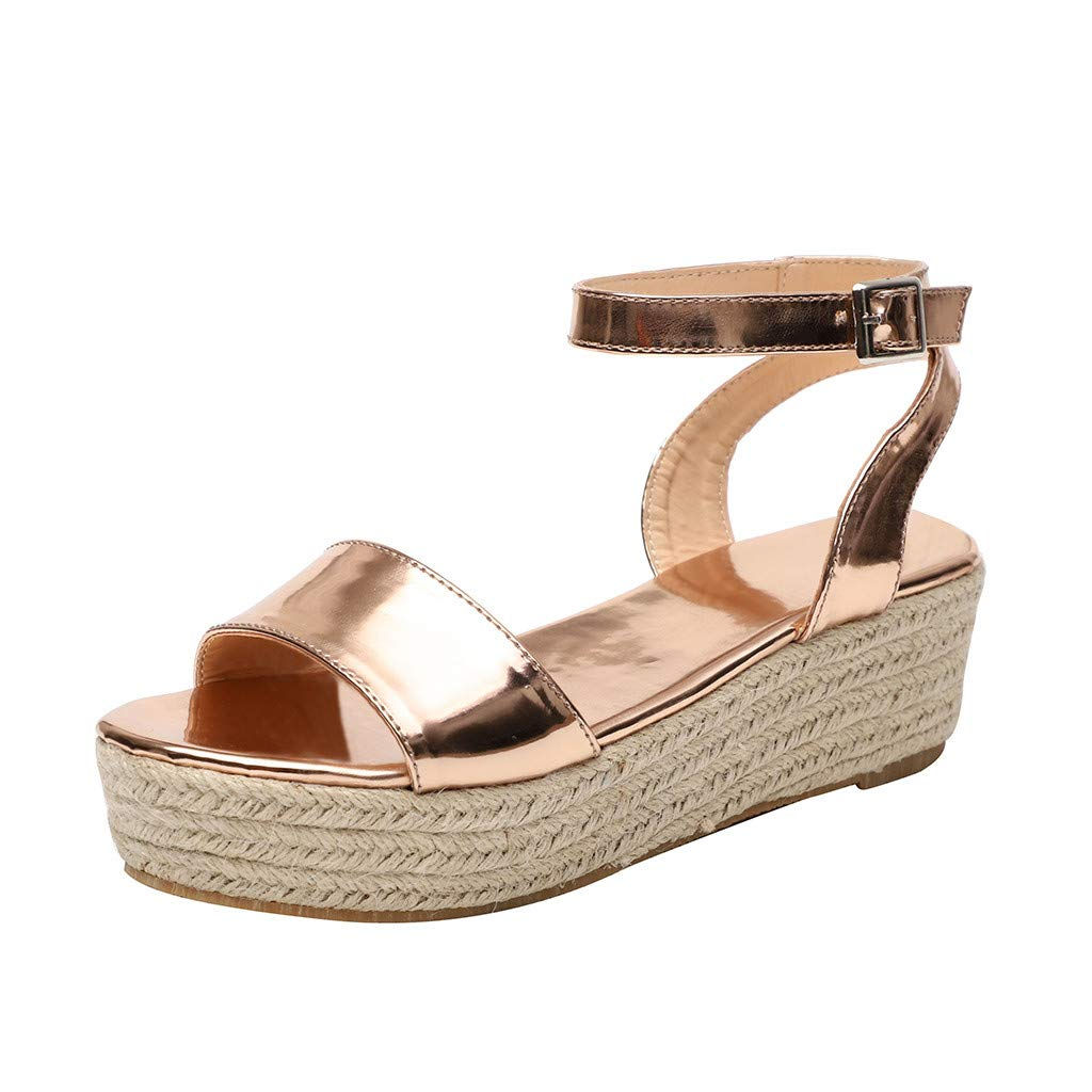 2019 Women's Outdoor Strap Ankle Buckle Beach Shoes Platform Wedges Woven Sandals Summer Roman Shoes (Gold, Size:42=US:8.5)