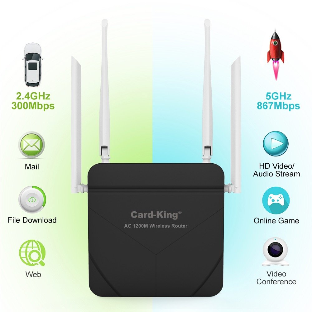 Wireless router Long range 1200mbps High Speed WiFi to router Dual Band
