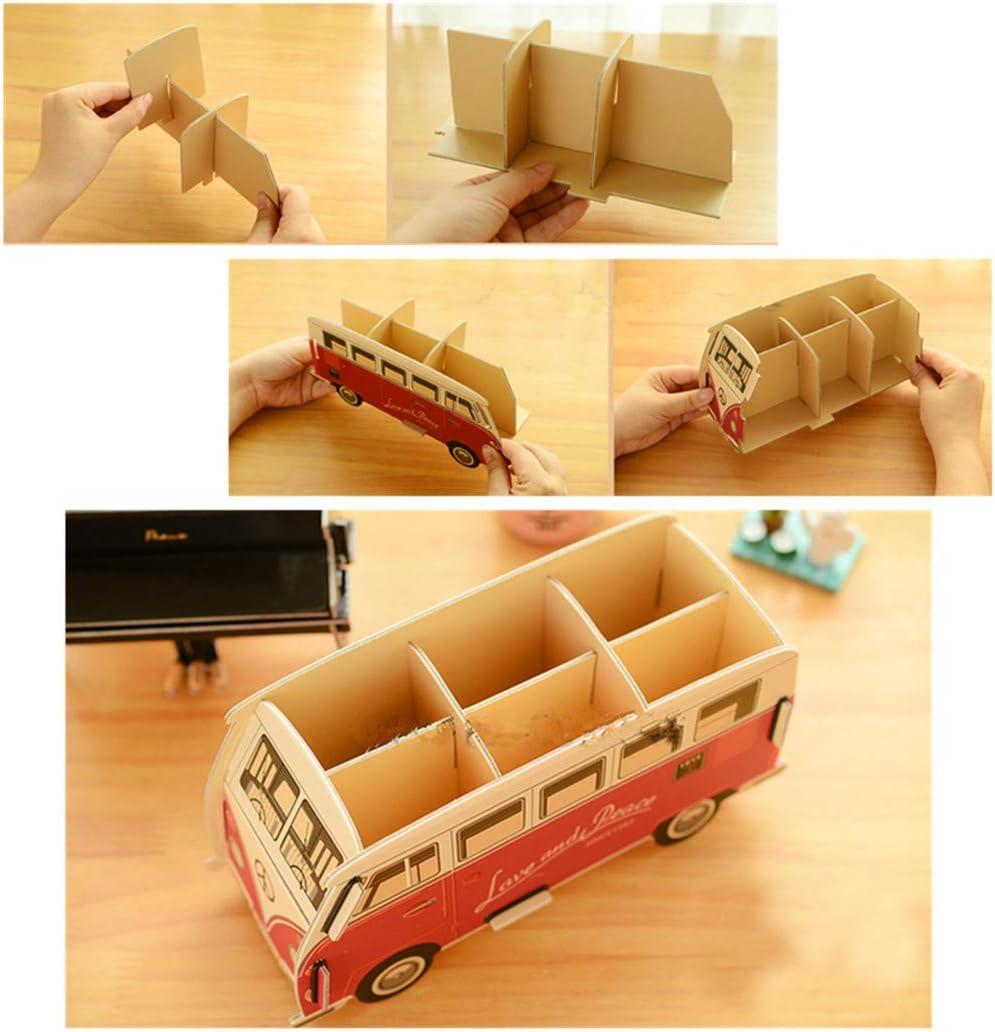 Rot Bus Bleistifthalter Multifunktion DIY Karton Desktop Schreibwaren Lager Container Schreibtisch Aufger/äumt Veranstalter Makeup Pinsel Halter von SamGreatWorld