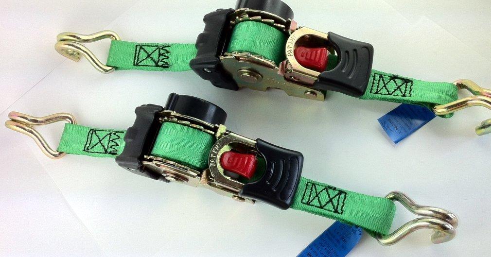 Juego de 2 correas de amarre el/ásticas autoenrollables, 1,85 m, 600 kg, material de flejado de acuerdo con la norma EN 12195-2 iapyx/®