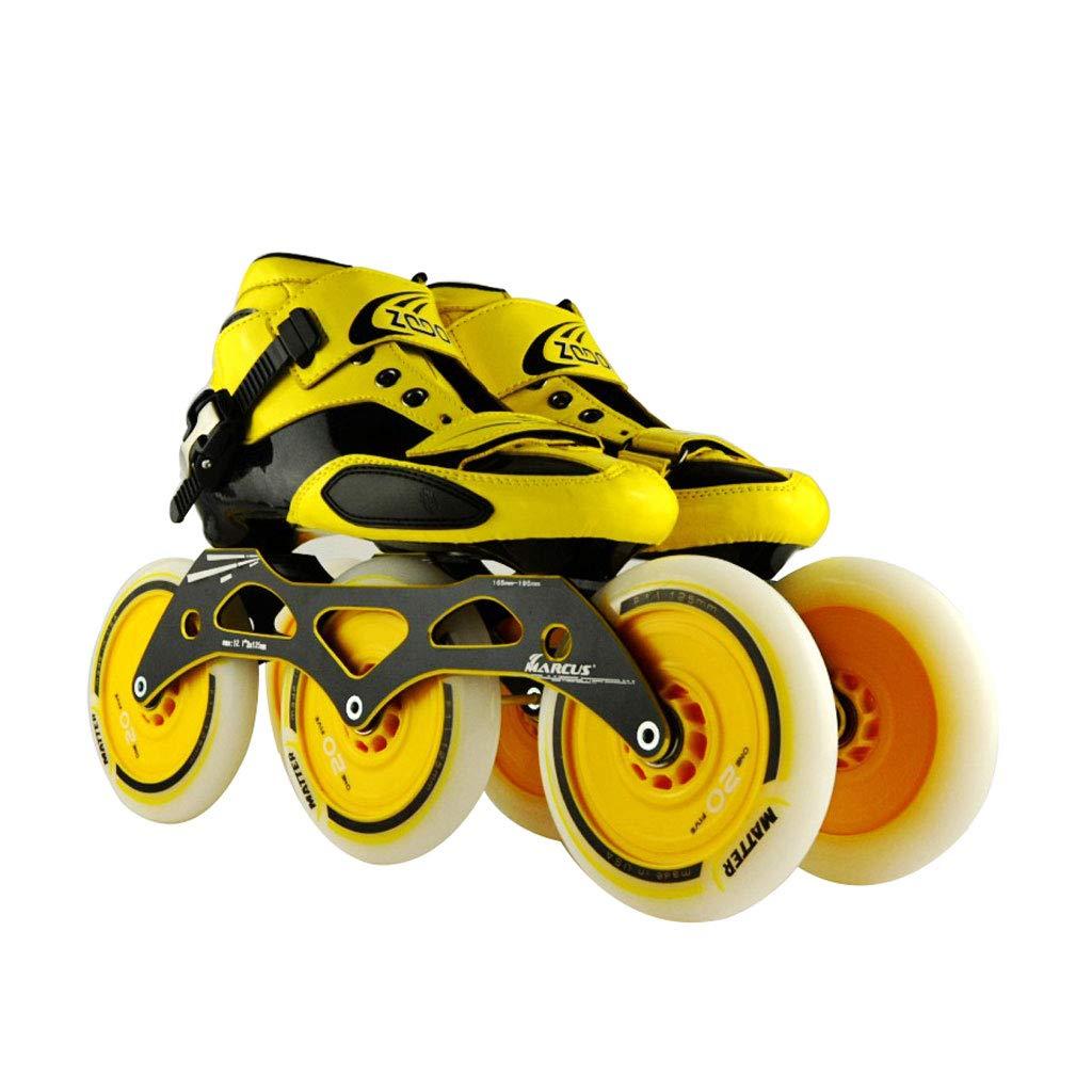 ailj スピードスケート靴3 * 125MM調整可能なインラインスケート、ストレートスケート靴(4色) (色 : イエロー いえろ゜, サイズ さいず : EU 42/US 9/UK 8/JP 26cm) B07HVT6BHM EU 46/US 13/UK 12/JP 28cm|イエロー いえろ゜ イエロー いえろ゜ EU 46/US 13/UK 12/JP 28cm