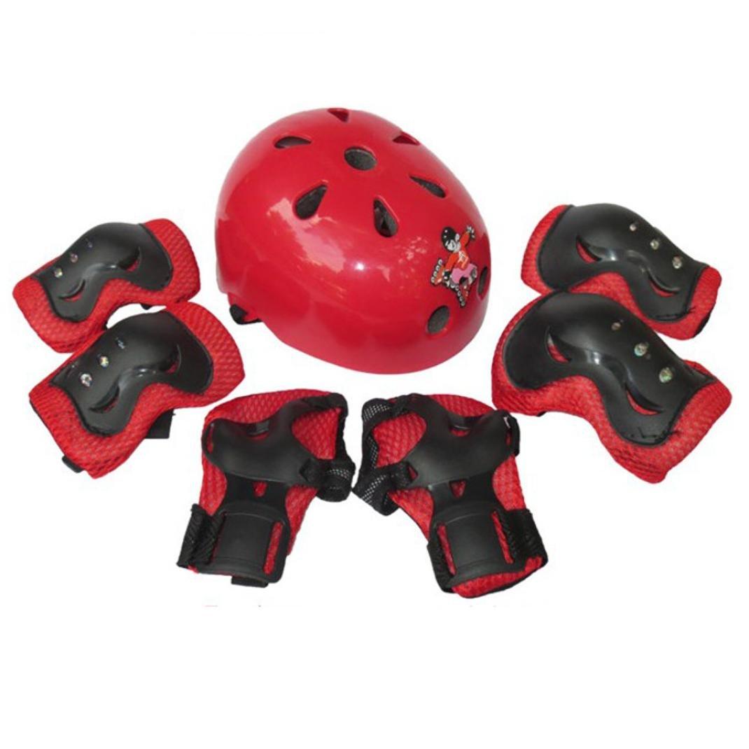 Helmets,Bessky® 7pcs Adults/Kid Child Unisex Self Balancing Bike Roller Knee Elbow Wrist Helmet Pad (41# Red, kid/child)