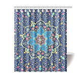 Happy More Custom Islamic Or Indian Floral Pattern Bathroom Waterproof Fabric Shower Curtain