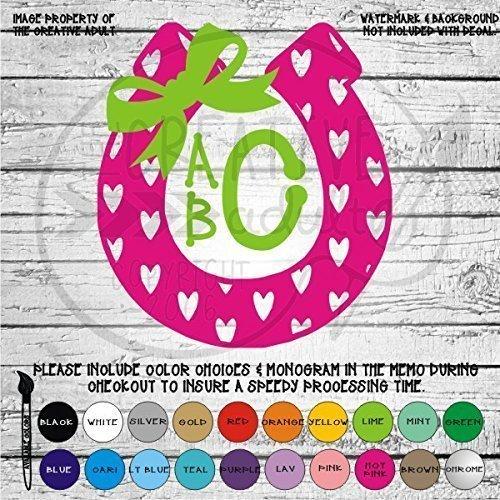 Heart Patterned Horseshoe Monogram Vinyl Die Cut Decal Sticker for Car Laptop etc. ()