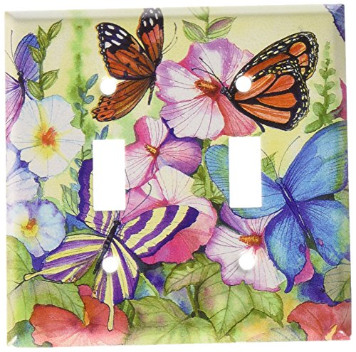 Art Plates - Garden Butterflies Switch Plate - Double ()