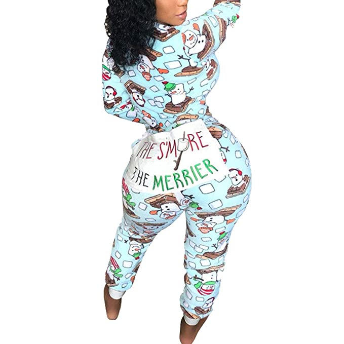 Pijamas de Navidad para Mujeres Sexy Zipper Mono Largos Moda Manga Larga Casual Mamelucos Romper Overall