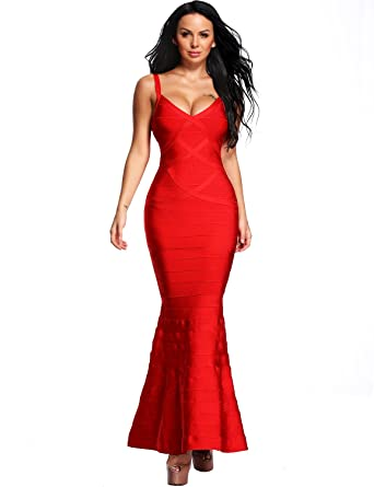 Red long evening dress