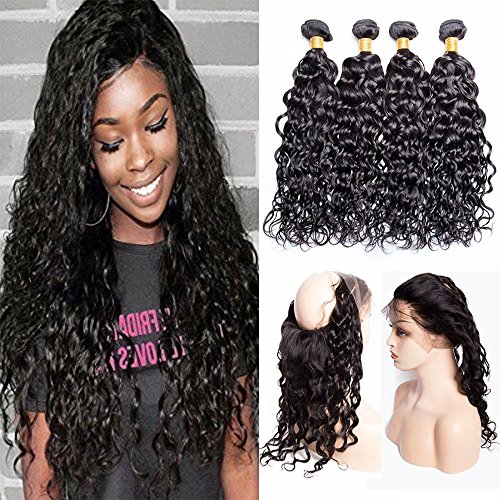 Maxine Hair Malaysian Water with 360 Frontal (26 28+20) 9A Grade Water Wave Hair 2 Bundles Virgin Human Hair Extensions with 360 Free Part Lace Frontal Closure Natural Color