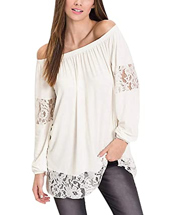 69efa59601e3 Kenoce Women Off Shoulder Blouses Long Sleeve Lace Shirts Tops Baggy Tunics  Causal Blouse T-