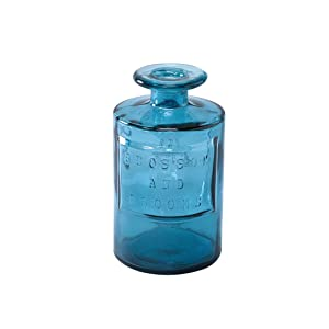 Time Concept Valencia 100% Recycled Glass Jar - Siete, Blue - Handcrafted Flower Vase, Home Centerpiece Décor