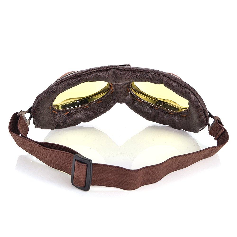 Men Women Steampunk Goggles Motocross Helmet Vintage Retro Aviator Goggles UV Protection Outdoor Sports Goggles Eyewear Yellow len