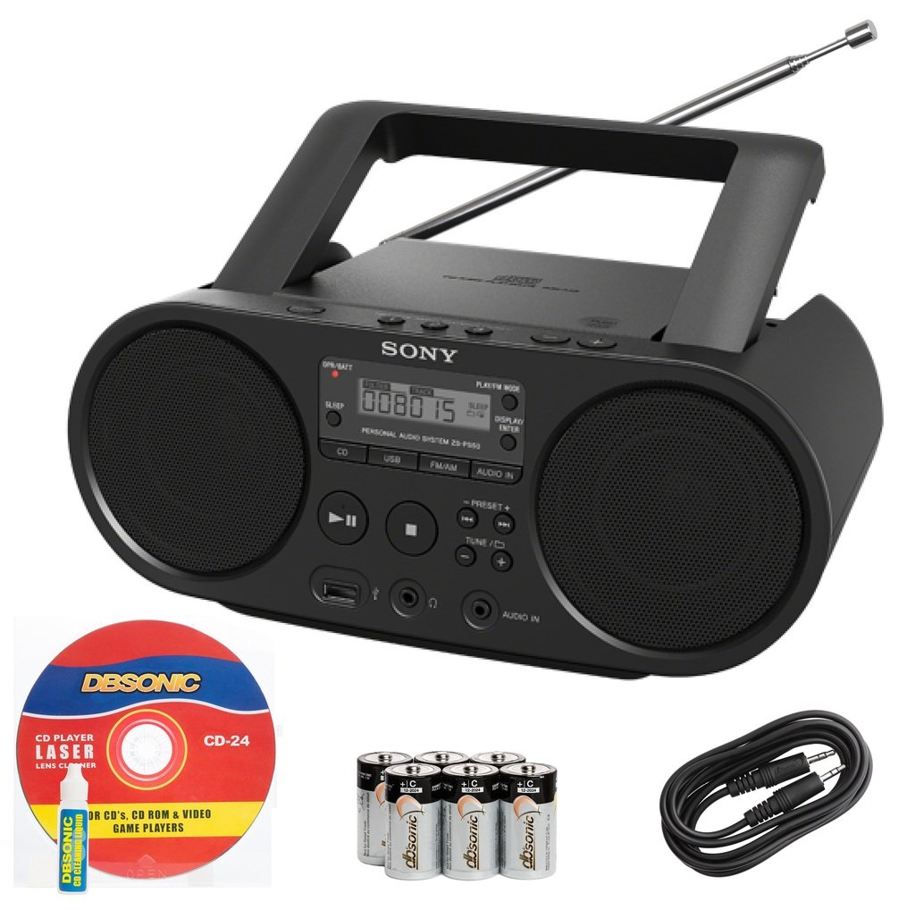 Sony Portable Full Range Stereo Boombox Sound System with MP3 CD Player, AM/FM Radio, 30 Presets, USB Input, Headphone & AUX Jack - Bonus DB Sonic CD Head Cleaner FBA_ZSPS50CD