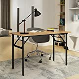 Need Folding Desk for Home Office 39-3/8'' Length Modern Folding Table Computer Desk with BIFMA Certification, No Install Needed Teak Color Desktop Black Frame, AC5BB(10060)