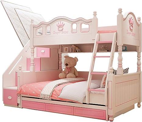 ZXM cama de matrimonio infantil, segunda habitación del niño, litera inferior, de dos pisos, cama de princesa, la combinación de madera maciza, cama alta y baja, con colchón superior e inferior: Amazon.es: