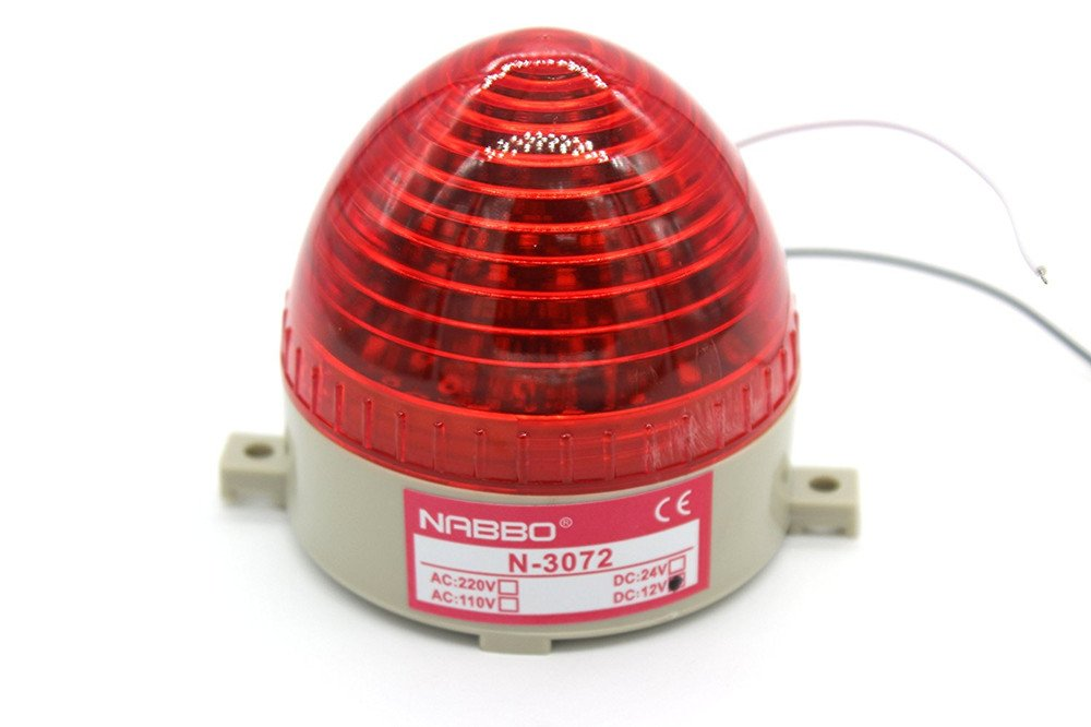 Nxtop Industrial DC 12V Red LED Warning Light Bulb Signal Tower Lamp N-3072B Steady Flash