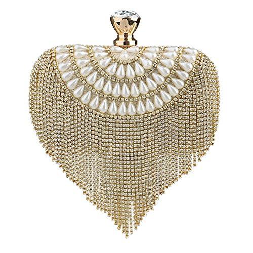 Clutches Bourse Pochette Cristal Pompon Main Soirée Gold De De Mesdames Sparkly Sac De Mariage Sac Diamant à RTTgq