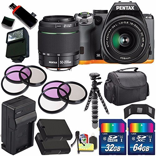 Pentax K-S2 DSLR Camera with 18-50mm & 50-200mm Lenses (Black/Orange) + Replacement Battery + External Charger + 96GB Deluxe Accessory Kit Bundle