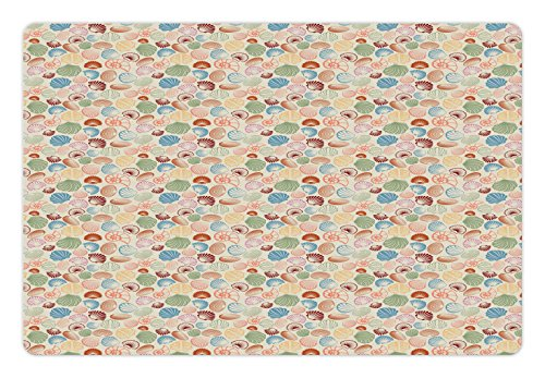 Lunarable Seashell Pet Mat for Food and Water, Tropical Beach Themed Background with Nautilus Scallops Cockle and Oyster, Non-Slip Rubber Mat for Dogs and Cats, 18