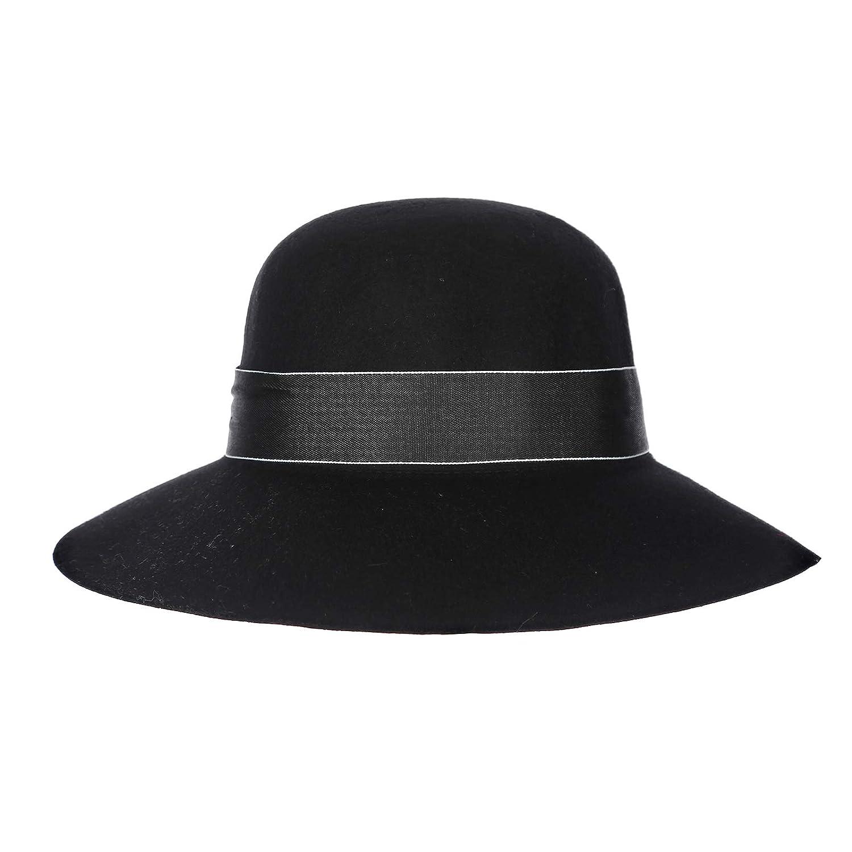 Prefe Women s 100% Wool Floppy Hat Felt Fedora Big Bow Wide Brim Wool Hat  (Black) at Amazon Women s Clothing store  4cf38736628