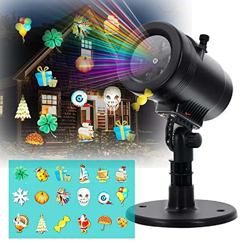 LED Projector Light- Blinbling Outdoor LED Lights Projector with 14 Festive Lights Designs for Halloween, Christmas, Birthday, Holiday Landscape Decoration, Waterproof