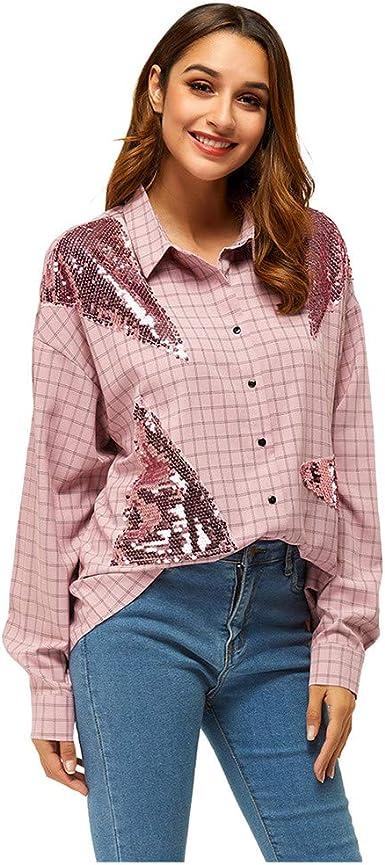 QinMMROPA Camisa a Cuadros con Lentejuelas para Mujer Blusa de Fiesta Camisa de Vestir Rosa L: Amazon.es: Ropa y accesorios