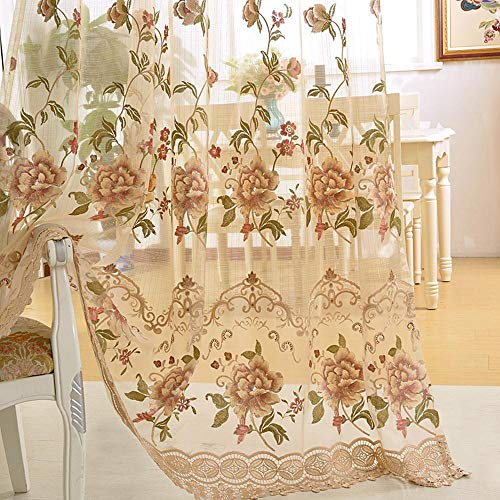 Floral Net Embroidered Lace Curtain - WINYY Sliding Glass Door Drape Curtain Embroidered Floral Sheer Curtain for Bedroom Living Room Rod Pocket Top Window Treatment Voile 75 Inch Wide 84 Inch Long Tulle 1 Panel