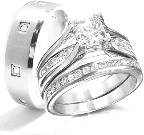 Amazon Com Kingswayjewelry His Her 3 Piece Women Sterling Silver Men Stainless Steel Engagement Rings Set Jewelry