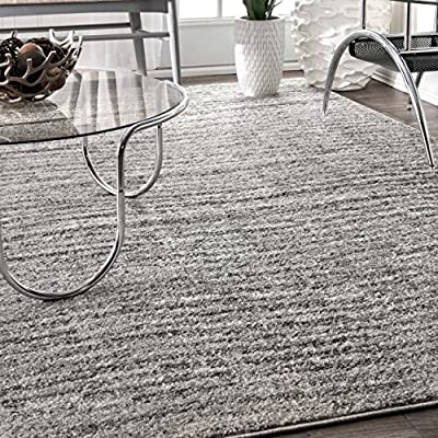 nuLOOM Ripple Contemporary Sherill Area Rug, 3' x 5', Grey, Gray - Made in Turkey PREMIUM MATERIAL: Crafted of durable synthetic fibers, it has soft texture and is easy to clean SLEEK LOOK: Doesn't obstruct doorways and brings elegance to any space - living-room-soft-furnishings, living-room, area-rugs - 612yuFNszKL. SS400  -