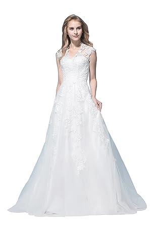 Vintage Cap Sleeve V Neck A Line Lace Overlay Tulle Wedding Dress at ...