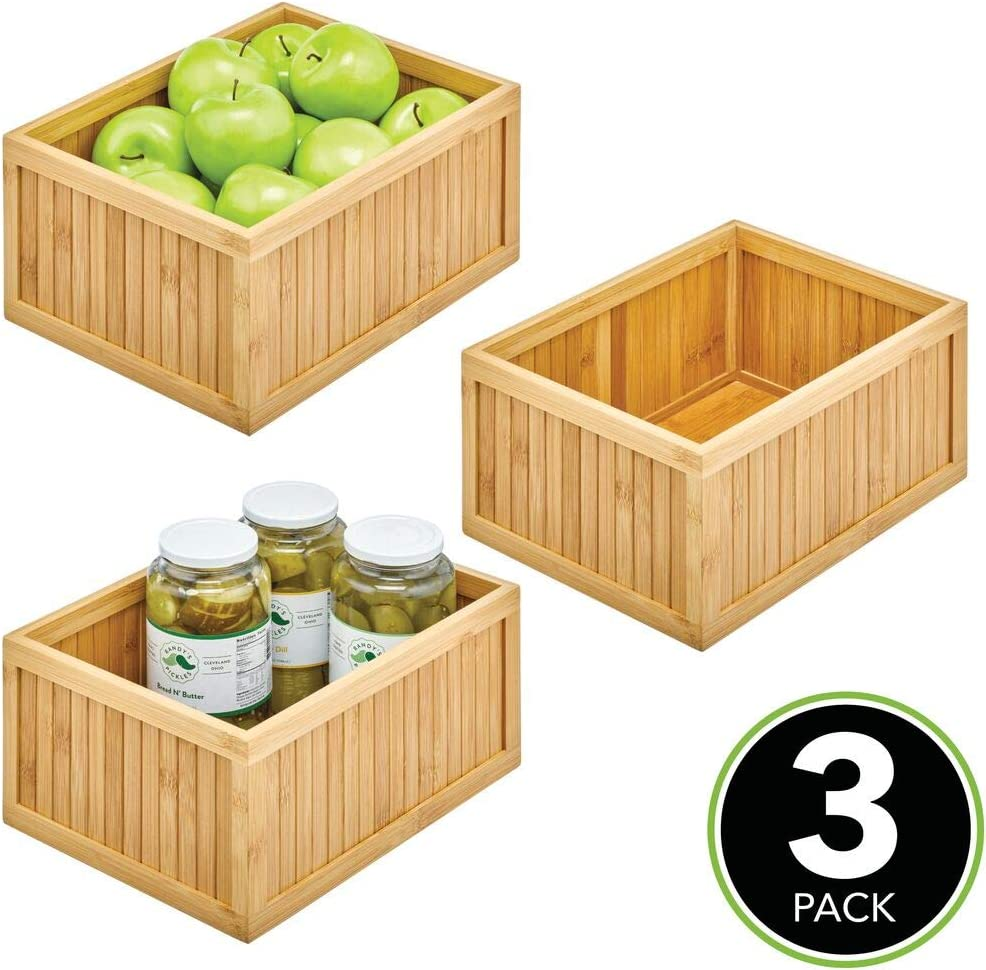 mDesign Cajas organizadoras para la cocina – Cajón organizador de bambú ecológico – Versátil caja de madera con compartimentos para guardar alimentos, latas, etc. – Juego de 3 – color natural: Amazon.es: Hogar